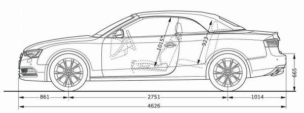 Audi A5 Cabrio Abmessungen Amp Technische Daten L 228 Nge