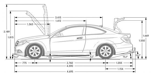 Mercedes Benz C Klasse Coupe C 204 Abmessungen