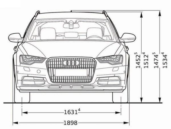 Audi a6 allroad quattro abmessungen technische daten for Audi a6 breite mit spiegel