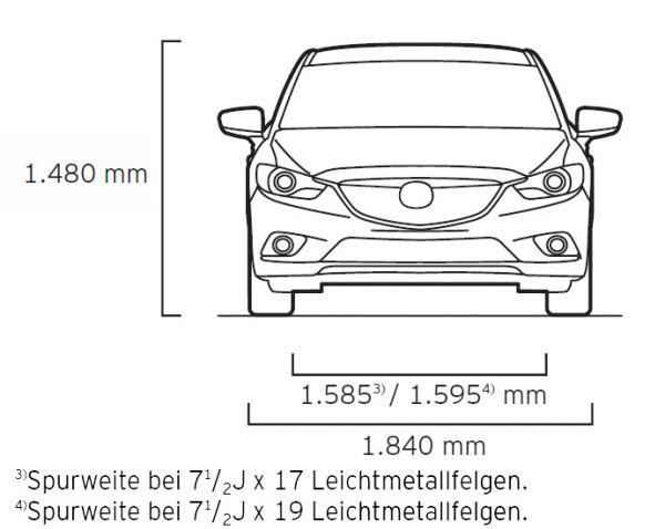 Mazda mazda6 kombi 2013 abmessungen technische daten for Breite golf 6 mit spiegel