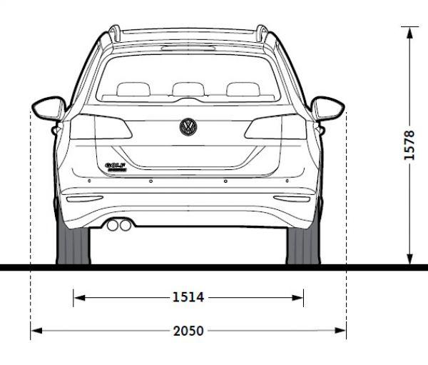 Vw golf vii sportsvan abmessungen technische daten for Breite golf 6 mit spiegel