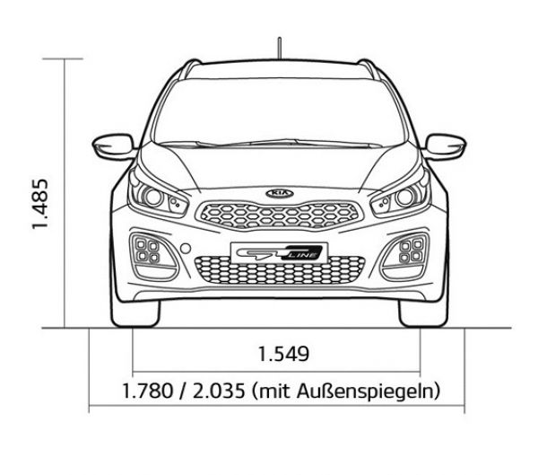 Kia ceed sportswagon abmessungen technische daten for Breite golf 6 mit spiegel