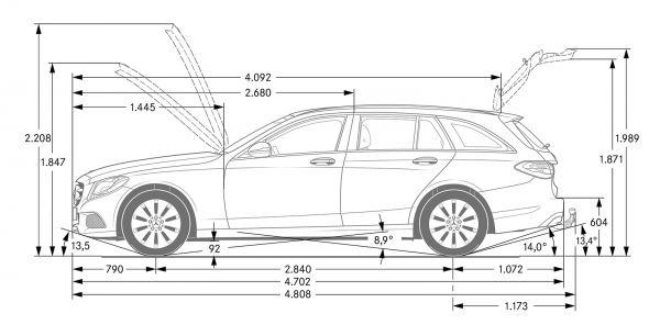 mercedes-benz c-klasse t-modell (s 205) - abmessungen & technische