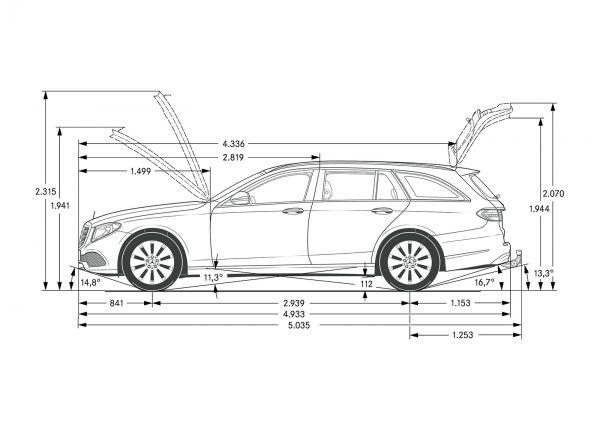 mercedes-benz e-klasse t-modell (s 213) - abmessungen & technische
