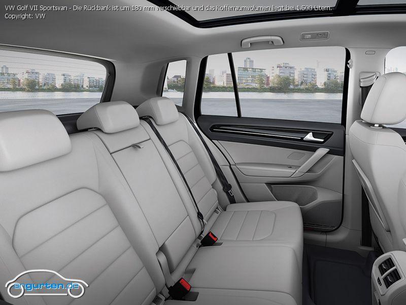 foto vw golf vii sportsvan die r ckbank ist um 180 mm verschiebbar und das kofferraumvolumen. Black Bedroom Furniture Sets. Home Design Ideas