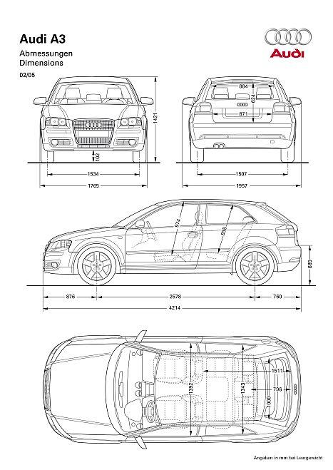 Audi a3 8p abmessungen technische daten l nge for Breite golf 6 mit spiegel