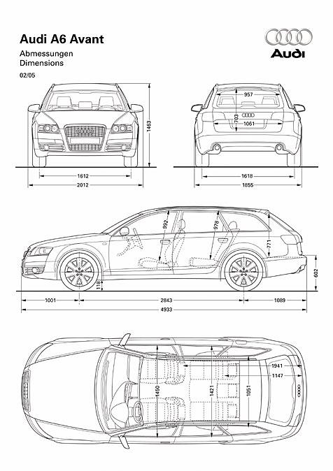 Audi a6 avant abmessungen technische daten l nge for Audi a6 breite mit spiegel